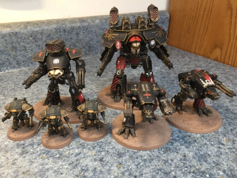 My husband's Mortis battlegroup for Adeptus Titanicus